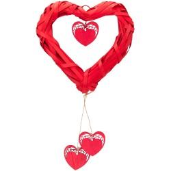 Hasır Örgü Kalp 25cm Kırmızı