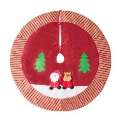 Yılbaşı Çam Ağacı Altı Örtüsü Noel Baba Kabartmalı