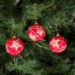 Yılbaşı Çam Ağacı Süsü Kraft Yıldızlı Top 6 cm 6'lı