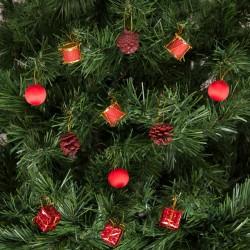Yılbaşı Çam Ağacı Kozalaklı Kırmızı Süs Seti 12'li