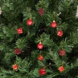 Yılbaşı Çam Ağacı Kırmızı Toplu Kozalaklı Süs Seti 12'li