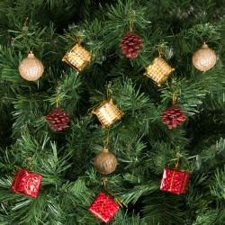 Yılbaşı Çam Ağacı Kırmızı Altın Toplu Süs Seti 12'li