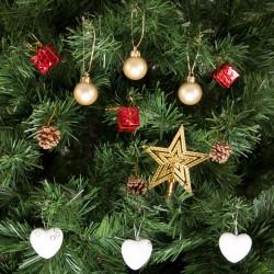 Yılbaşı Çam Ağacı Beyaz Kalpli Süs Seti 13'lü