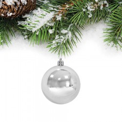 Yılbaşı Çam Ağacı Süsü Gümüş Top 6 cm 6'lı