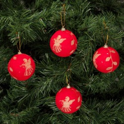 Yılbaşı Çam Ağacı Süsü Kırmızı Desenli 7 cm 4'lü