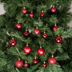 Yılbaşı Çam Ağacı Süsü Kırmızı Set 36'lı