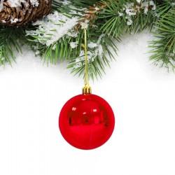 Yılbaşı Çam Ağacı Süsü Kırmızı Top 6 cm 6'lı