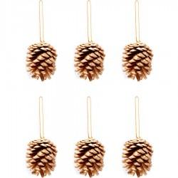 Yılbaşı Çam Ağacı Süsü Kozalak Altın 5 cm 6'lı